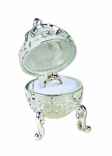 Ivy Lane Design Silver Plated Ring Box, Egg-Shaped with Rhinestones ()