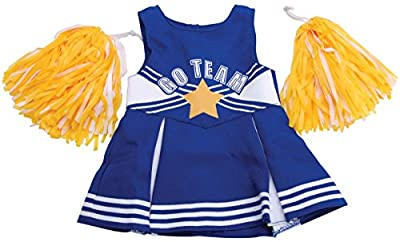 Springfield Collection by Fibre-Craft - Blue and White Cheerleader Outfit with Yellow Pom Poms - Fun School Spirit - Mix and Match - Fits All 18-Inch Dolls