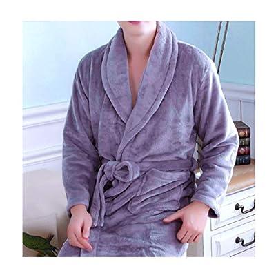 femaroly Man Autumn and Winter Fleece Warm Bathrobe Kimono Spa Robe