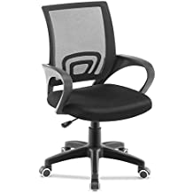 JL Comfurni Office Chair Adjustable Mesh Swivel Home Office Chairs Low Back Computer Desk Chair for Working (Black)