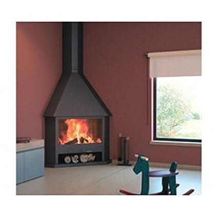 Estufa chimenea de cuña de fuego abierto con puerta de cristal y marco de acero inoxidable