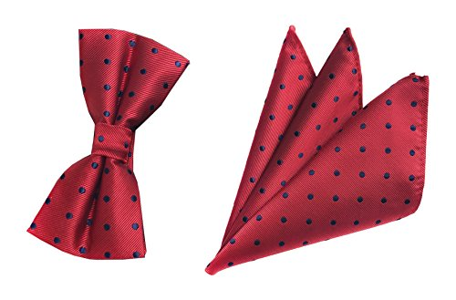 Cherry Red Bow Ties Events Formal Pocket Hankie Handsome Bowties Set Ideal Gifts by Ctskyte