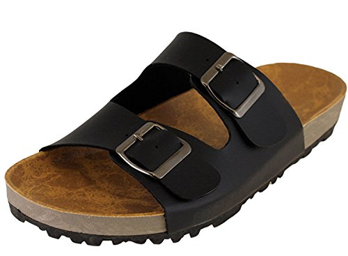 Cambridge Select Women's Slip On Double Buckle Platform Slide Sandal,7 M US,Black