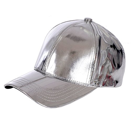 - Gary Majdell Sport Unisex Metallic Baseball Cap with Adjustable Strap - Silver