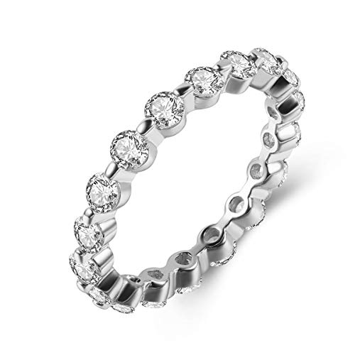 Cubic Clear Band Zirconia Eternity - Shengtai Round Cubic Zirconia Eternity Band Stackable Rings for Women Teen Gilrs, White Gold Plated Christmas Jewelry Gifts Size 8