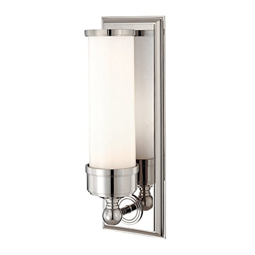 Everett 1-Light Vanity Light - Polished Nickel Finish with Opal Glossy Glass Shade
