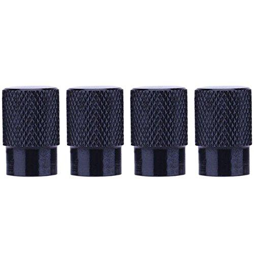 Ocamo 4 Tapas de Válvula de neumático de Aluminio para Coche, para neumáticos y Accesorios Herméticos, Negro