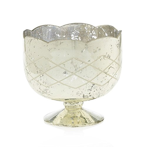Mercury-Glass-Compote-Dish-Bowl-with-Pedestal-725-in-tall-Silver