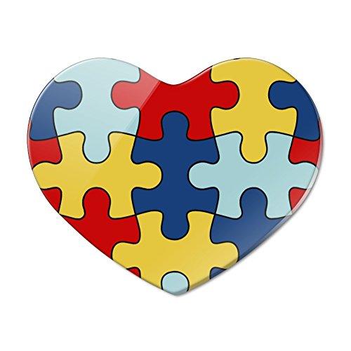 Autism Awareness Diversity Puzzle Pieces Heart Acrylic Fridge Refrigerator Magnet ()