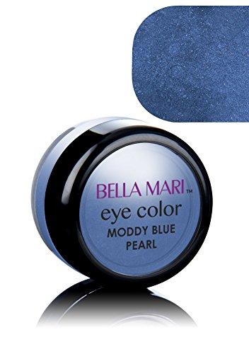 Bella Mari Natural Mineral Eyeshadow, Moody Blue (Pearl); 0.1oz (Best Natural Eyeshadow For Blue Eyes)
