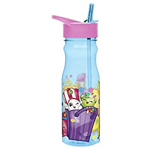 Zak! Designs Tritan Water Bottle with Flip-up Spout and Straw featuring Shopkins Graphics, Break-resistant and BPA-free Plastic, 25 oz.
