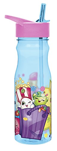 Zak Designs SHPC-P280 Water Bottles Tritan Straw, Shopkins