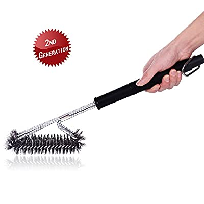 """ASHILISIA Barbecue Grill Brush, 18"""" BBQ Grill Brush 3 in 1 (2nd Generation, Stainless Steel Clasp and Bristles), Best BBQ Grill Cleaner for All Barbecue Lovers"""