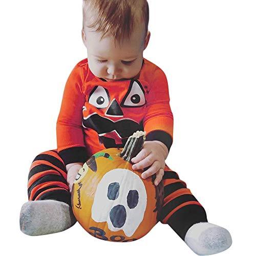 n Cartoon Striped Print T-Shirt Tops+Pants Set Pumpkin Pants Clothes Set (Orange, 6M) ()