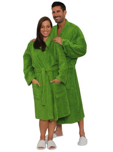 Terry Cloth Robe TowelRobes 100% Cotton Kimono Adult Unisex Bathrobe for Women and Men (Apple Green, O/S)