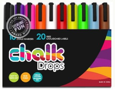 chalkDrops 10 Vibrant Color Erasable Liquid Chalk Markers with 20 Chalkboard Stickers
