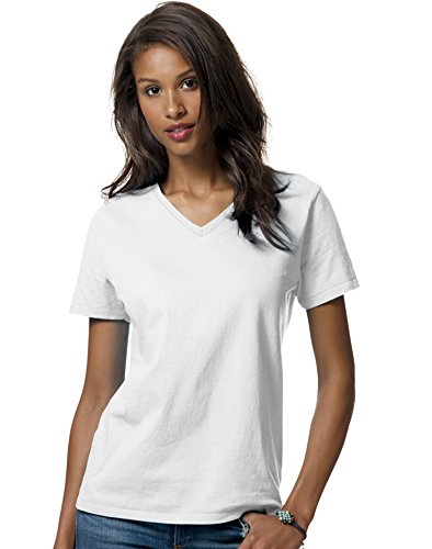 Hanes Women's Relax Fit Jersey V-Neck Tee 5.2 oz (Pack of 1) Size:Large Color:White