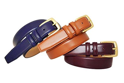 0211 Toneka Classic Mens Brass Buckle Feather Edge Leather Dress Belt