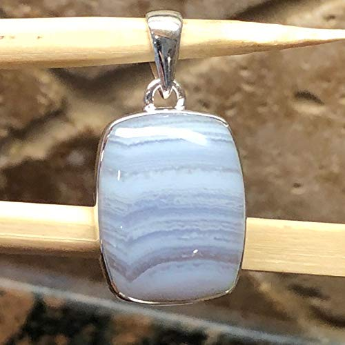Natural Blue Lace Agate 925 Sterling Silver Pear Solitaire Pendant 35mm Long
