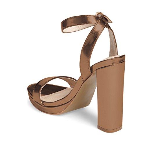 Fsj Vrouwen Sexy Enkelband Platform Sandalen Open Teen Dikke Hoge Hak Voor Zomer Schoenen Maat 4-15 Us Brons