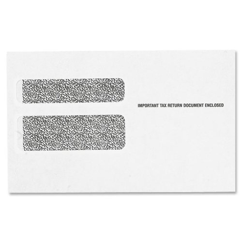 Free TOPS Double Window Tax Form Envelopes for W-2 Laser Forms, 9 x 5.625 Inches, Gummed Closure, White, 50 Envelopes per Pack