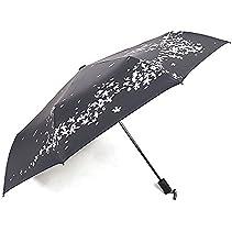XDOBO New Arrival Compact Folding Cherry Blossom WindProof Sun/Rain Umbrella UPF 50+ UV (Black)