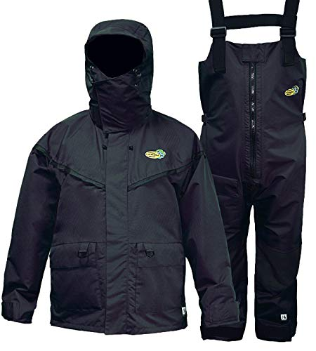 Navis Marine PRO Foul Weather Gear Fishing Rain Suits for Men Sailing Waterproof Jacket with Bib Pants Removable Insulated Liner 3 Pieces (Carbon,XL)