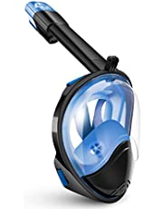 BFULL Snorkel Mask Full Face 180° Panoramic Sea View Anti-Fog Anti-Leak Snorkeling Mask with Action Camera Mount and Soft Adjustable Head Straps for Kids and Adults