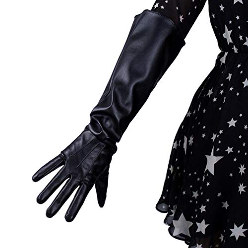DooWay Fashion 20-inch Black Faux Leather Mittens Gloves Touchscreen Wide Sleeves Cosplay Dress Finger Elbow Long Gloves Opera Costume Party - Mitten Leather Womens