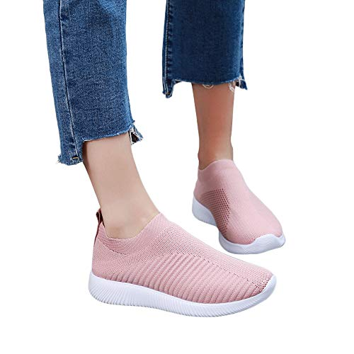 Women Outdoor Mesh Shoes Casual Slip On Soles Running Sports Shoes Fitfulvan(Pink,6.5)