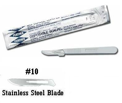 Feather Sterile Disposable Scalpels, #10, (Feather Sterile Disposable Scalpels)