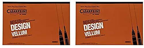 Clearprint 1000H Design Vellum Pad, 16 lb, 100% Cotton, 11 x 17 Inches, 50 Sheets, Translucent White, 1 Each (10001416) (Twо Расk)