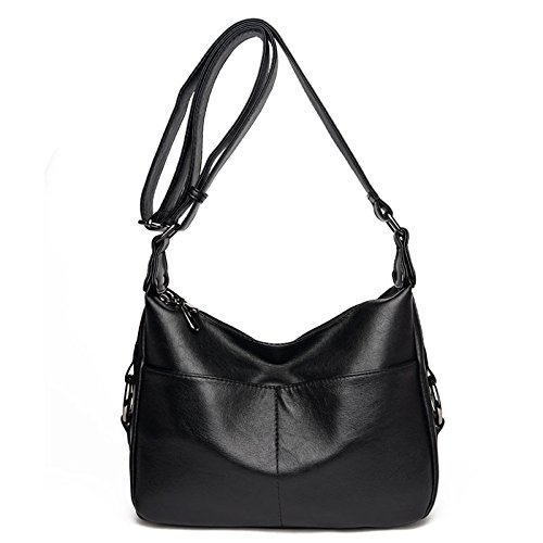 Capacity Retro Women's Leather Soft Crossbody Bag Shoulder Casual Messenger Large Black For Bag Ladies qPqHS6p