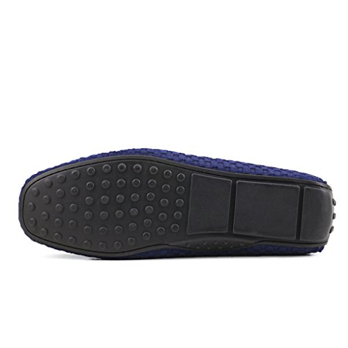 Ausland Heren Loafers, Suede Mocassins, Instapschoenen Blauw