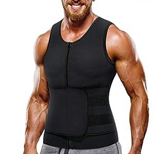 Wonderience Neoprene Sauna Suit for Men Waist Trainer Vest Zipper Body Shaper with Adjustable Tank Top