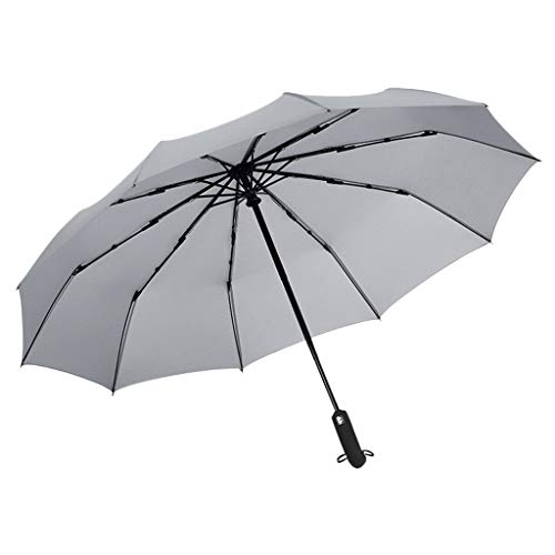 Square Fiberglass Market Umbrella - Honestyivan Business Simple Auto Tri-Fold Windproof UV Protection Sun&Rain Umbrella Portable Folding Umbrella (10 Ribs)