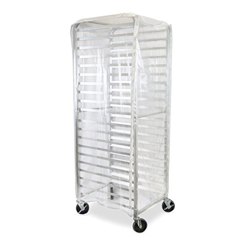 TrueCraftware - Durable Clear Plastic Cover for 20 Tier Commercial Kitchen Bun Pan Sheet Rack - 28 x 23 x 61 - Heavy Duty Plastic Sheet Pan Rack Cover with Zippers