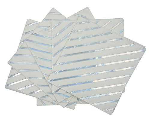 pkins,Mettalic Silver Paper Napkins 6.5''50counts 2Ply, Perfect for Birthday,Wedding,Bachelorette Party,Babyshower,Bridalshower (Iridescent Foil Stripes, 6.5''x6.5'') ()
