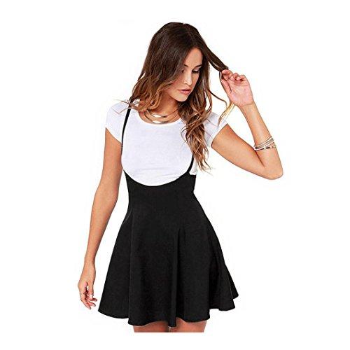 Black Satin Pleated Mini Skirt - GREFER Women 2018 Fashion Self-cultivation Black Skirt With Shoulder Straps Pleated Dress