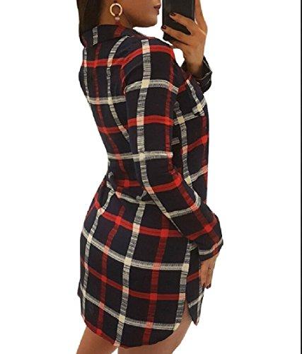 Jaycargogo Roll-up Imprimé À Carreaux Féminin Robe De Soirée Moulante Manches Ourlet Courbé Noir