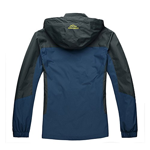 Windbreaker Chaqueta Impermeable Con Hombre Montaña Mujer Al Capucha Softshell Libre Azul Denim Aire fZYFq