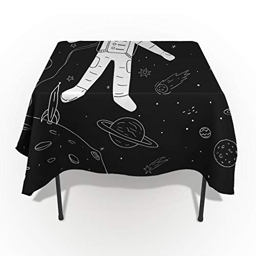 Space Exploration Astronaut Space Odyssey Pattern Tablecloths Washable Fabric Rectangle Table Cloth Cover for Kitchen Dinning Tabletop Decoration 54X109In