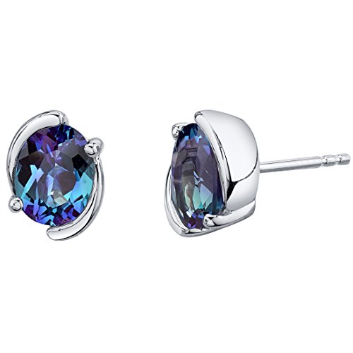 Simulated Alexandrite Sterling Silver Bezel Stud Earrings 3.50 Carats Total ()