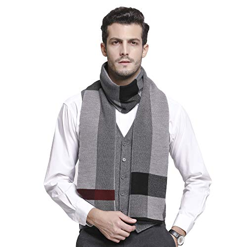 RIONA Winter Classical Cashmere Feel Warm Plaid Stripe Australian Wool Knitted Scarf with Gift Box