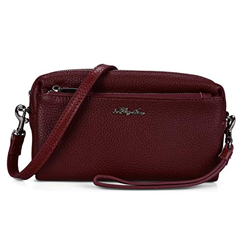 Befen Women Full Grain Leather Triple Zip Crossbody Bag Crossbody Cell Phone Purse Wallet Bag Phone Wristlet - Burgundy Red