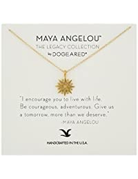 """Dogeared Maya Angelou 2.0 """"I Encourage You To Live with Life."""" Cutout Starburst Pendant Necklace"""