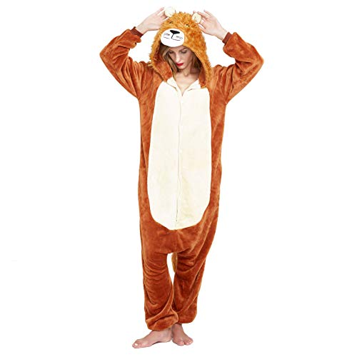 NOUSION Licorne Unisex Adult Pajamas, Cosplay Christmas Unicorn Sleepwear Onesies Outfit (M, Lion)]()