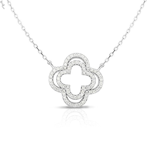 Unique Royal Jewelry Solid Sterling Silver Double Row Cubic Zirconia Open Four Leaf Clover Pendant Necklace. (White) (Natural Silver)