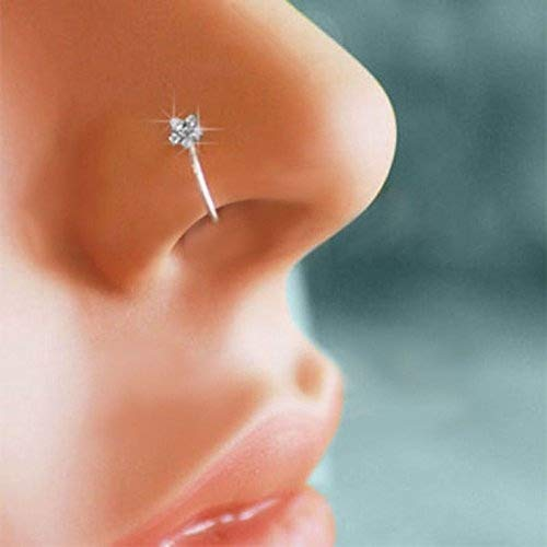 Greenchen Small Thin Flower Clear Crystal Nose Ring Stud Hoop-Sparkly Crystal Nose Ring