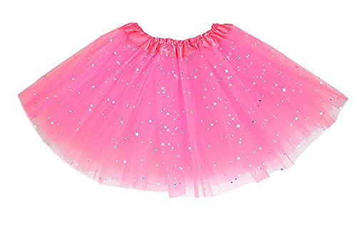 Pink Soft Costumes (Girls Classic Elastic 3 Layered Tutu Ballet Soft Tulle Costume Skirt (2 - 9 Years, Glitter-Pink))